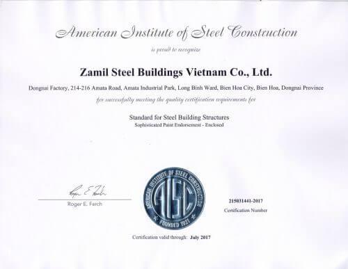Việt Nam – Zamil Steel Việt Nam nhận chứng chỉ AISC cho nhà máy Đồng Nai