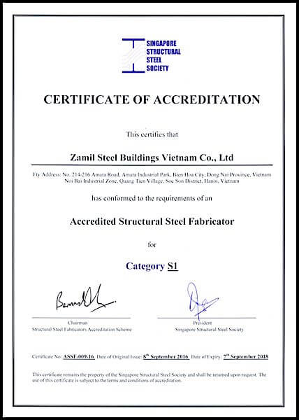 Việt Nam – Zamil Steel nhận Giấy chứng nhận nhà sản xuất S1 từ Hiệp hội Kết cấu thép Singapore