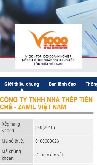 Zamil Steel Buildings Vietnam (ZSV) listed in the Top 1000 Enterprises for Corporate Income Tax Contribution by the Vietnam Government