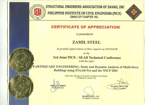 Zamil Steel Buildings Vietnam sponsored the 3rd Joint PICE – SEAD Technical Conference in Philippines