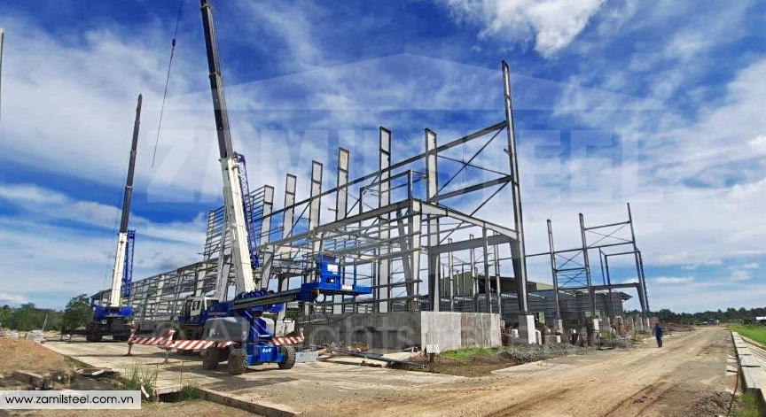 steel structures rice mill project by Zamil Vietnam